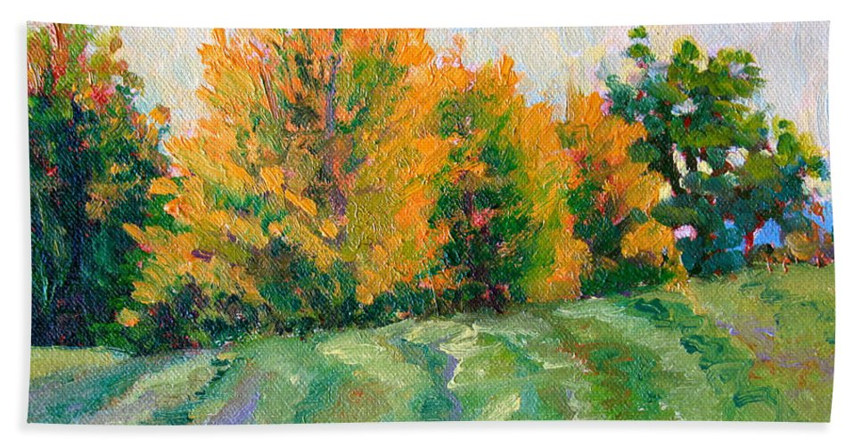 Impressionism Bath Sheet featuring the painting Maple Grove by Keith Burgess
