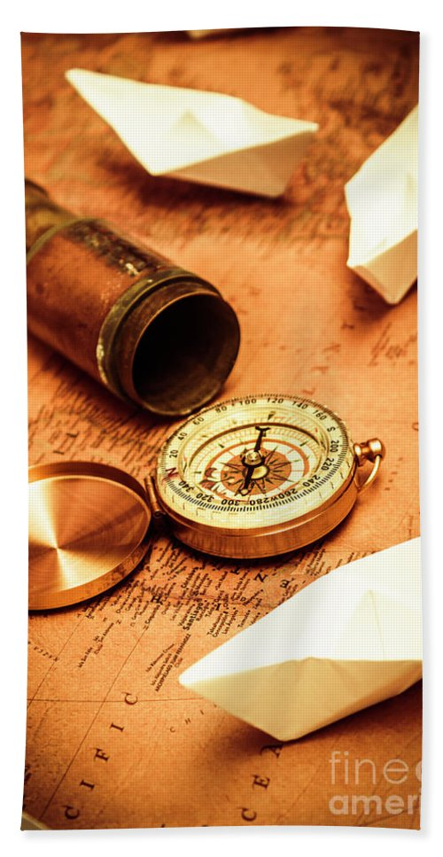 Vintage Bath Towel featuring the photograph Maps And Bearings by Jorgo Photography - Wall Art Gallery