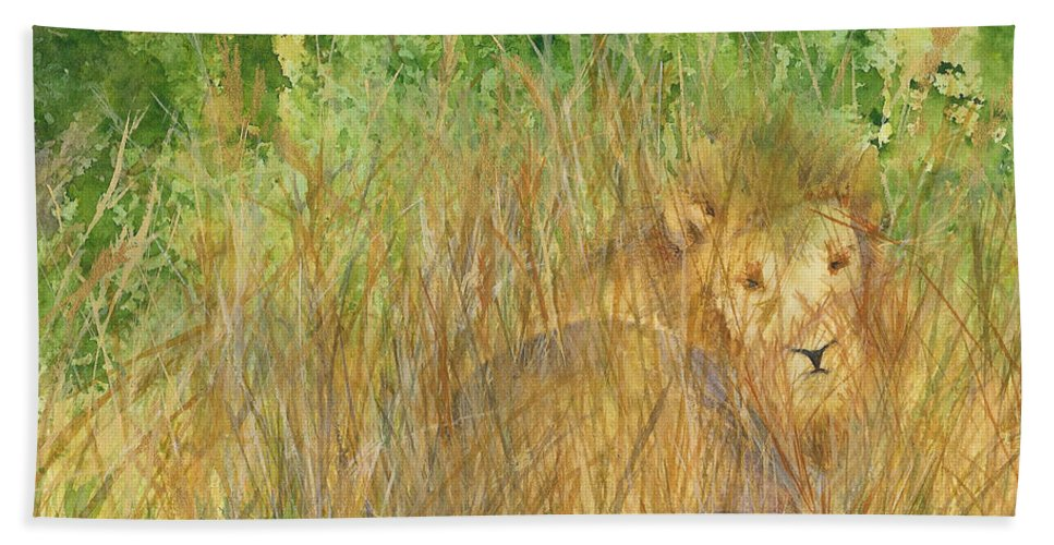 Africa Hand Towel featuring the painting Mara The Lioness by Vicki Housel