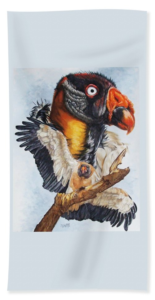 Vulture Bath Sheet featuring the mixed media Marauder by Barbara Keith