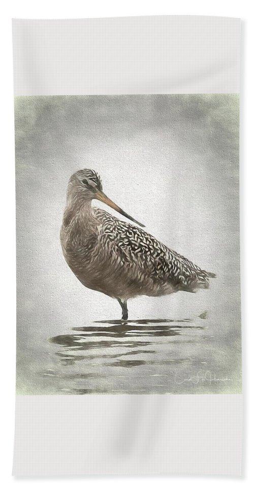 Birds Hand Towel featuring the digital art Marbled Godwit by Carol Fox Henrichs