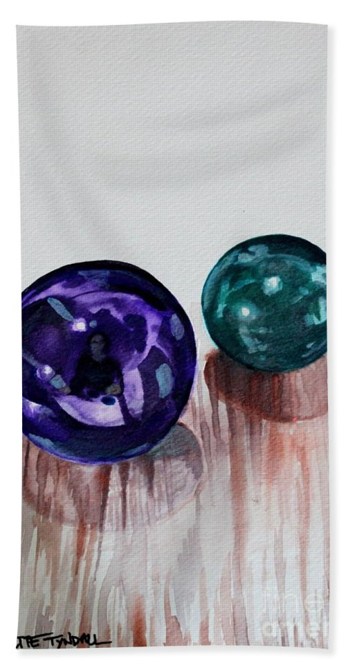 Marbles Bath Sheet featuring the painting Marbles Of My Reflection by Elizabeth Robinette Tyndall