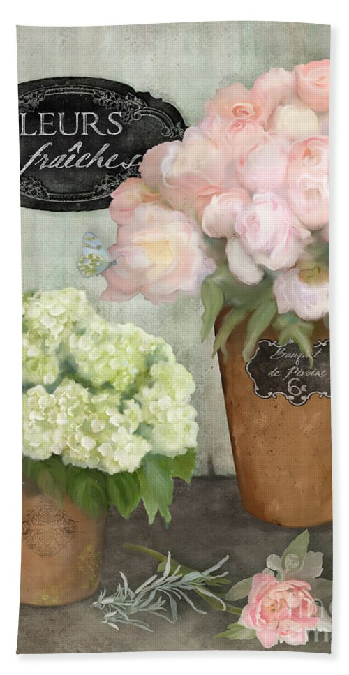 French Flower Market Bath Towel featuring the painting Marche Aux Fleurs 2 - Peonies N Hydrangeas by Audrey Jeanne Roberts