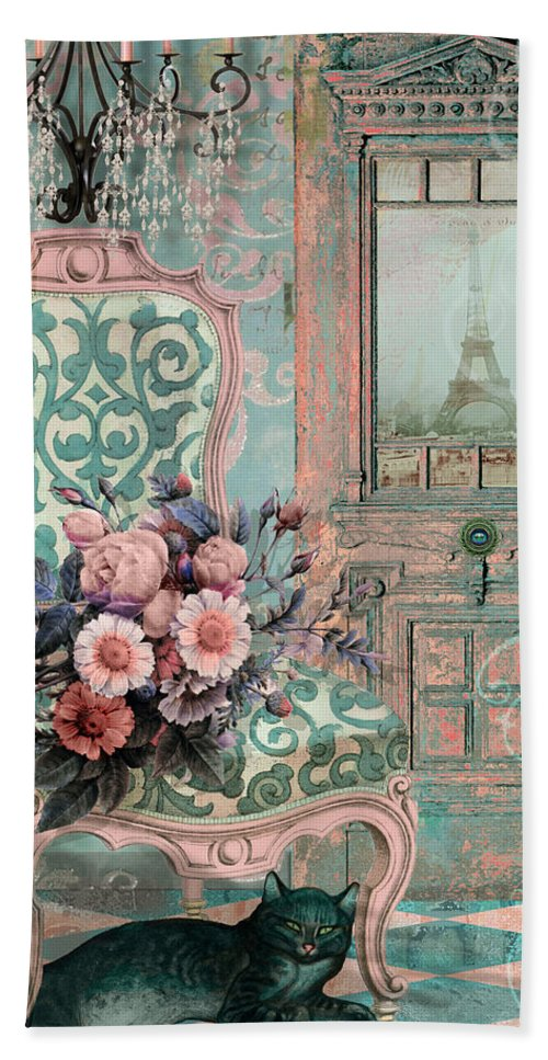 Paris Hand Towel featuring the painting Marcie In Paris by Mindy Sommers