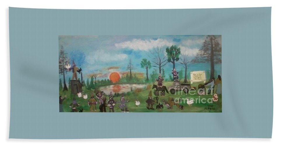 Courir De Mardi Gras Hand Towel featuring the painting Mardi Gras At The Pond by Seaux-N-Seau Soileau
