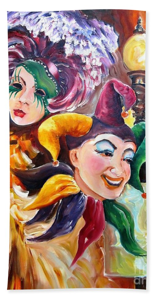 New Orleans Bath Sheet featuring the painting Mardi Gras Images by Diane Millsap