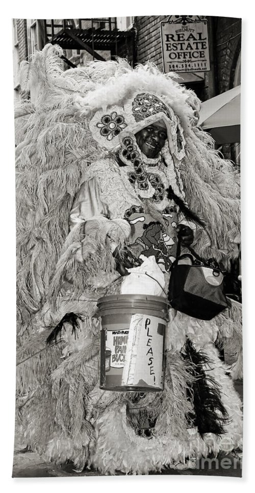 New Orleans Hand Towel featuring the photograph Mardi Gras Indian In Pirates Alley In Black And White by Kathleen K Parker