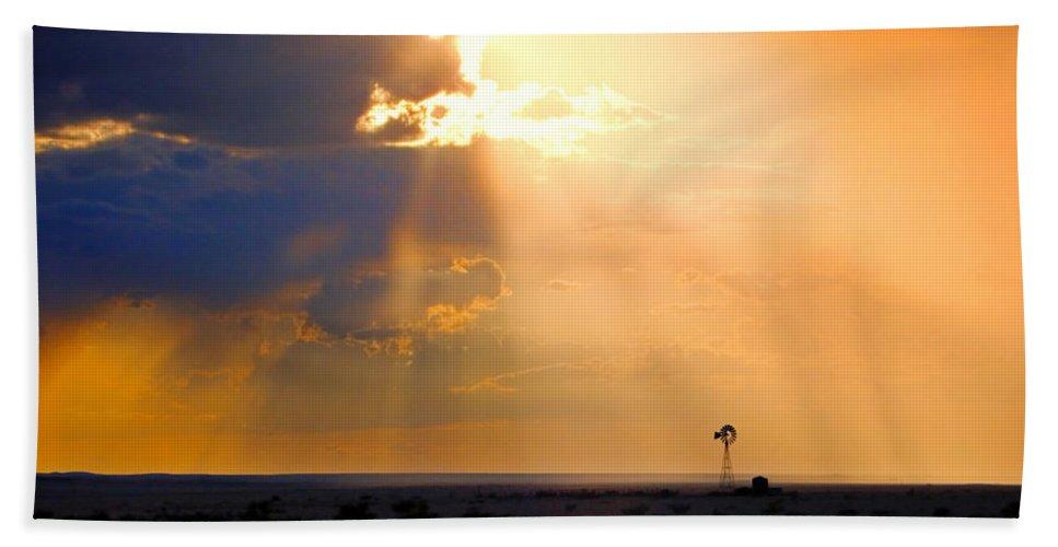 Skip Hunt Bath Towel featuring the photograph Marfa Windmill 1 by Skip Hunt