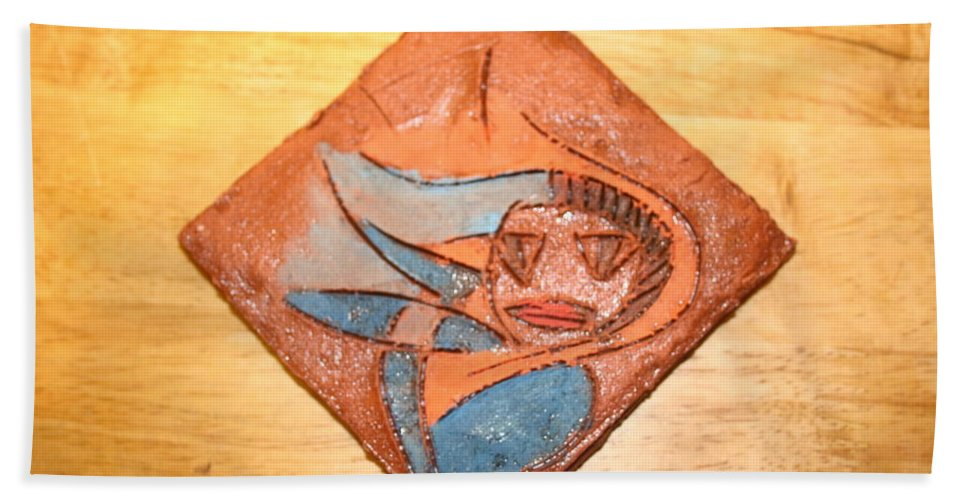 Jesus Hand Towel featuring the ceramic art Marg - Tile by Gloria Ssali