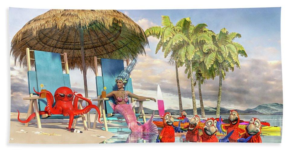 Caribbean Bath Towel featuring the digital art Margaritaville Caribbean Islands Escape by Betsy Knapp