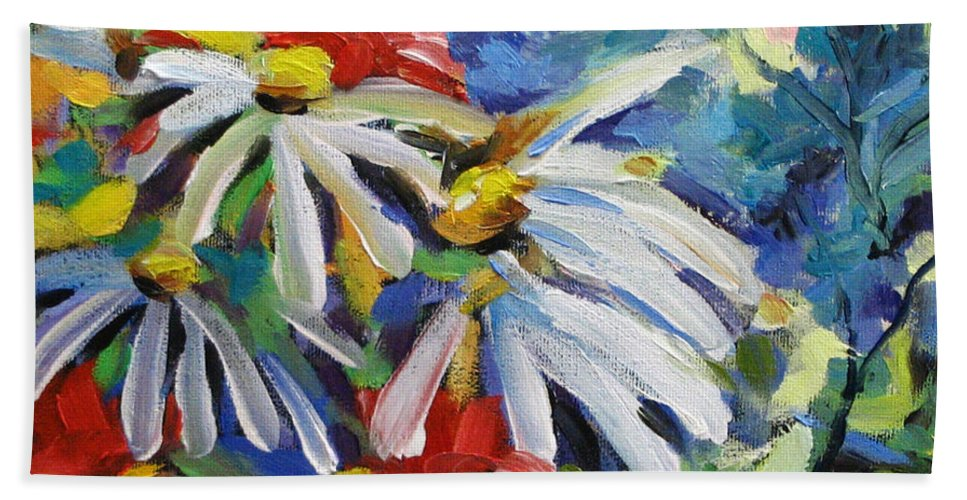 Art Bath Towel featuring the painting Marguerites by Richard T Pranke