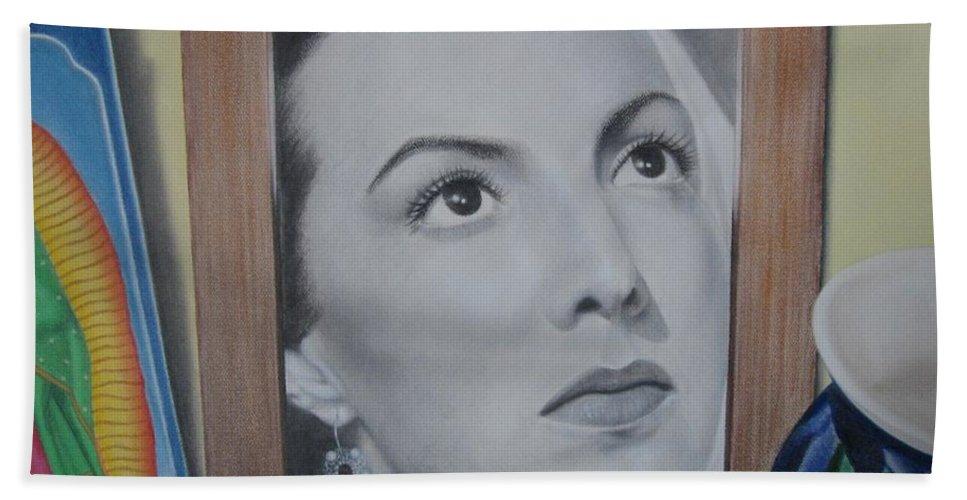 Maria Felix Bath Sheet featuring the painting Maria Bonita by Lynet McDonald