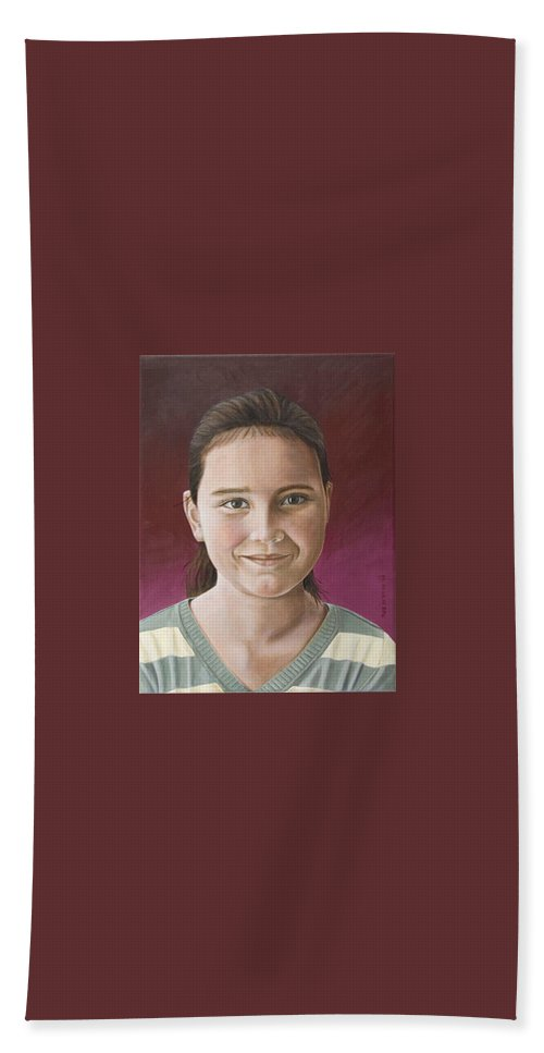 Portrait Bath Sheet featuring the painting Maria by Rob De Vries