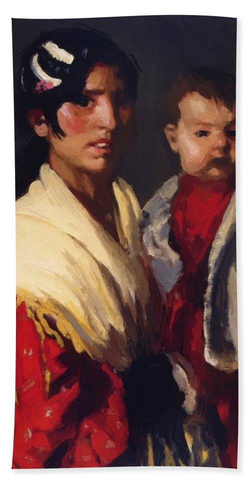 Maria Bath Sheet featuring the painting Maria Y Consuelo Gitana 1906 by Henri Robert