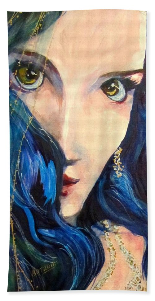 Portrait Hand Towel featuring the painting Mariah Blue by Barbara O'Toole