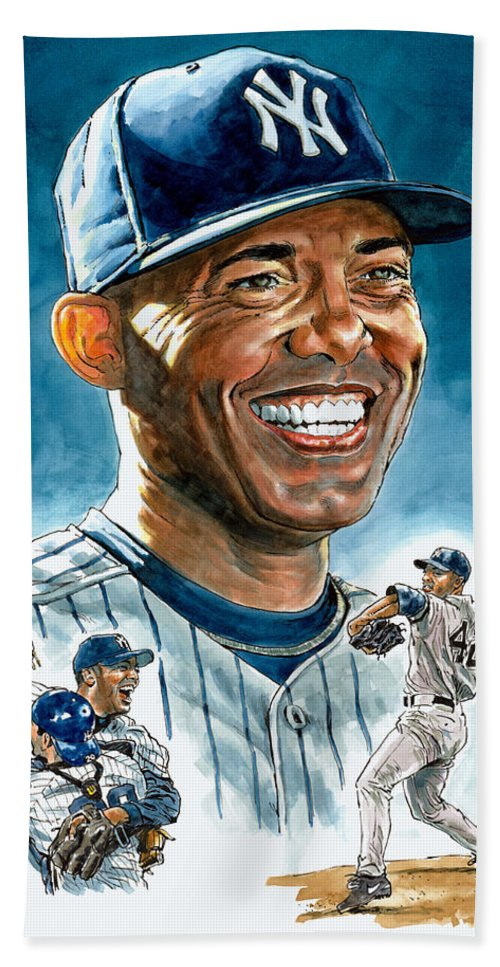 Mariano Rivera Bath Sheet featuring the painting Mariano by Tom Hedderich