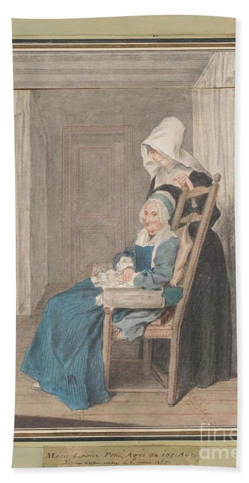 Hand Towel featuring the drawing Marie Louise Petit At The Age Of 105, With Her Young Nurse by Louis Carrogis, Called Carmontelle
