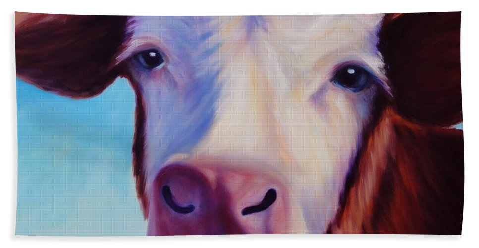 Cow Hand Towel featuring the painting Marie by Shannon Grissom