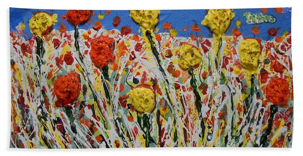 Abstract Hand Towel featuring the painting Marigold Flower Garden by Gh FiLben