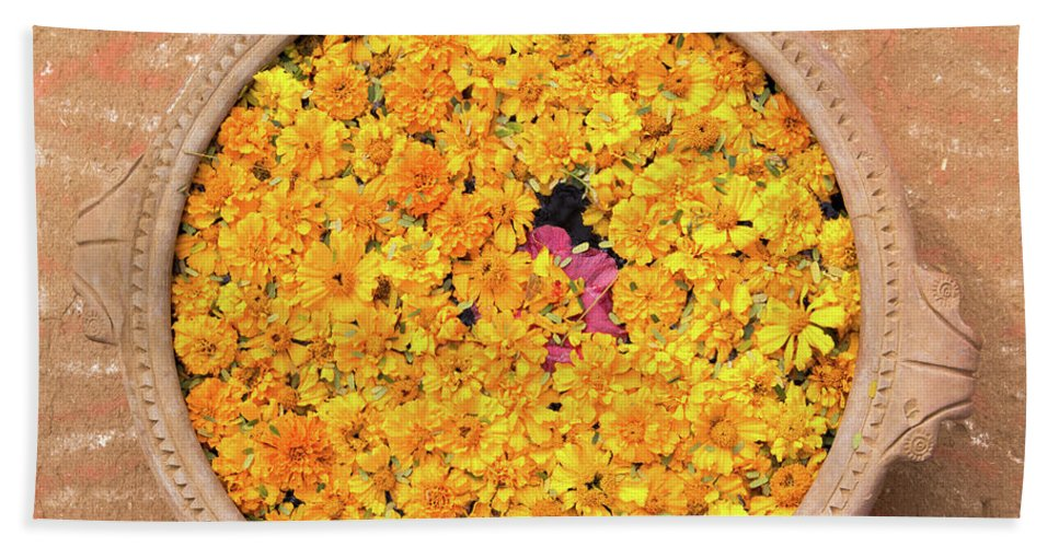 Asia Hand Towel featuring the photograph Marigold Offering by Emily M Wilson