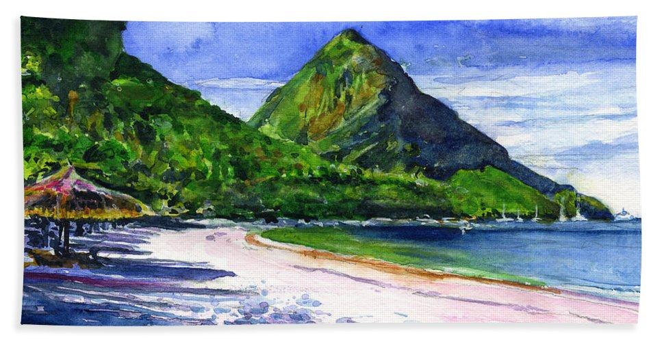 Marigot Bay Hand Towel featuring the painting Marigot Bay St Lucia by John D Benson