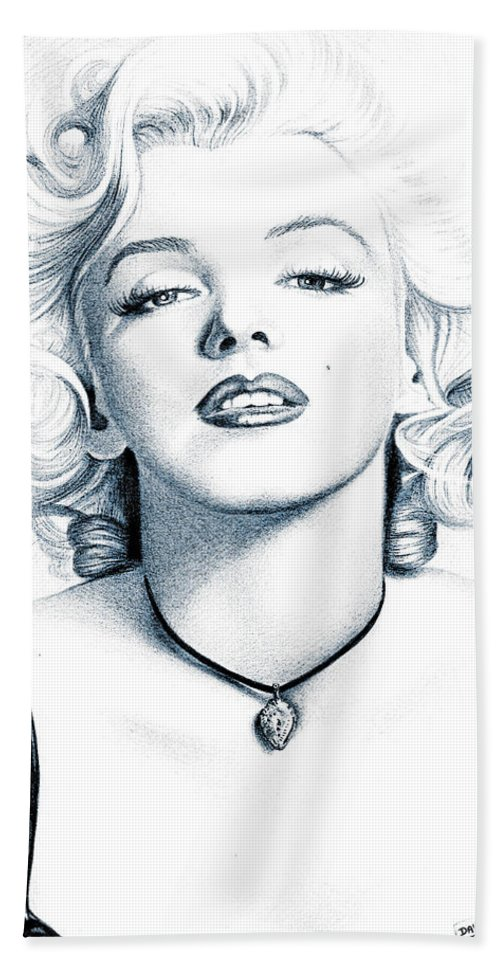 Marilyn Monroe - White And Black - Artist - Celebrity - Blonde - Woman - Beautiful - Decoration - White - Black - Hand Towel featuring the digital art Marilyn Black And White by Lyriel Lyra
