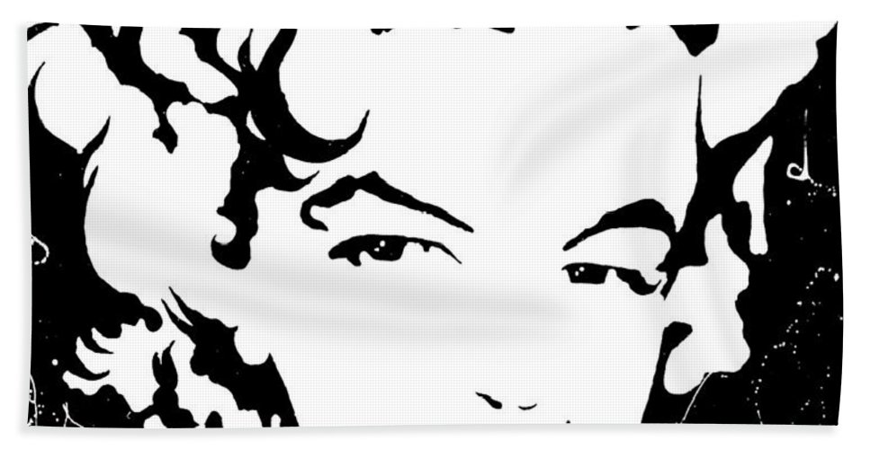 Portrait Bath Sheet featuring the painting Marilyn Monroe by Curtiss Shaffer