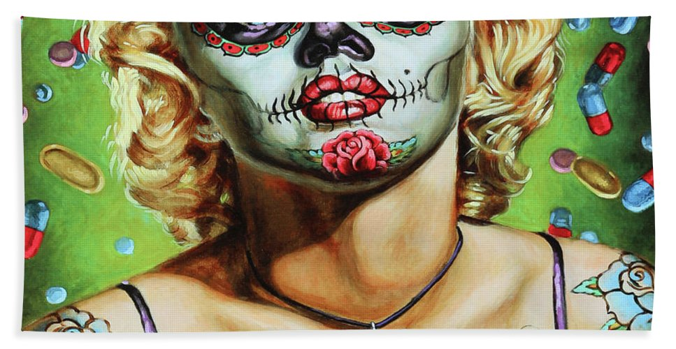 Dia De Los Muertos Hand Towel featuring the photograph Marilyn Monroe Jfk Day Of The Dead by Chuck Kuhn