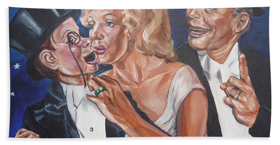 Old Time Radio Bath Sheet featuring the painting Marilyn Monroe Marries Charlie Mccarthy by Bryan Bustard