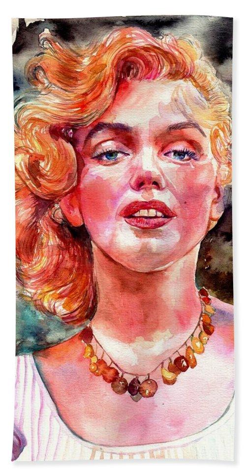 Marilyn Monroe Bath Towel featuring the painting Marilyn Monroe Painting by Suzann Sines