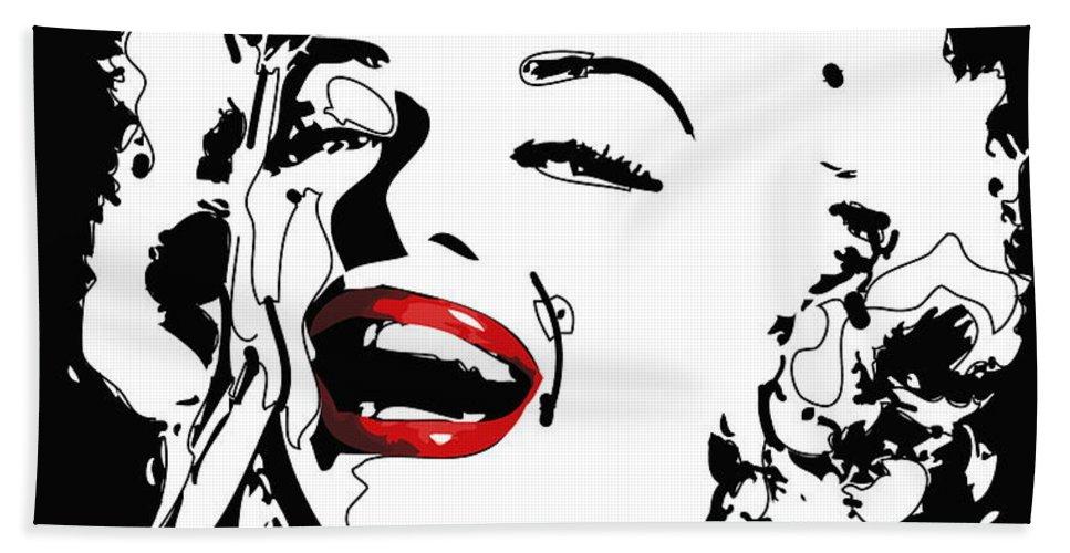 Actress Hand Towel featuring the digital art Marilyn Monroe by Rabi Khan