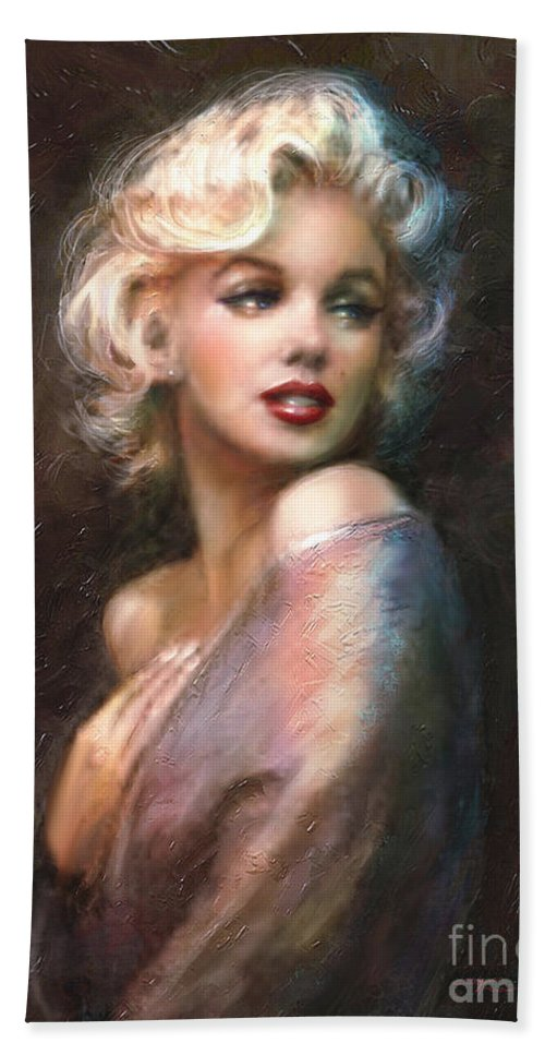 Marilyn Bath Towel featuring the painting Marilyn romantic WW 1 by Theo Danella