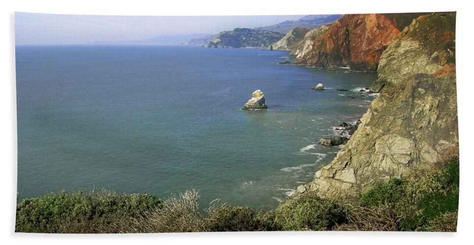 Ocean Bath Sheet featuring the photograph Marin Headlands 1 by Karen W Meyer