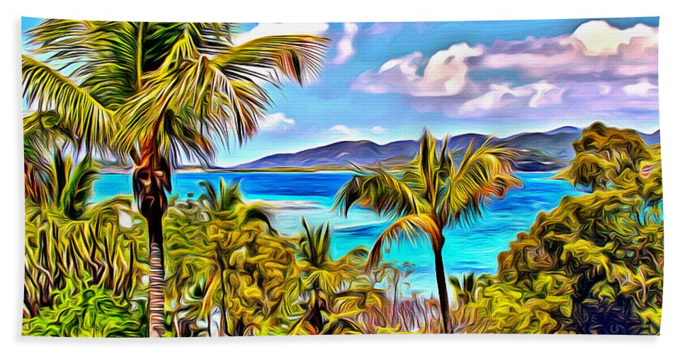 Soggy Dollar Hand Towel featuring the digital art Marina Cay by Anthony C Chen