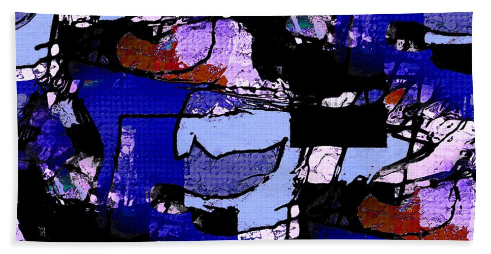 Abstract Hand Towel featuring the mixed media Marina by Natalie Holland