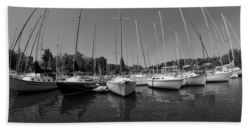 Marina On Lake Murray Sc Black And White Hand Towel featuring the photograph Marina On Lake Murray S C Black And White by Lisa Wooten
