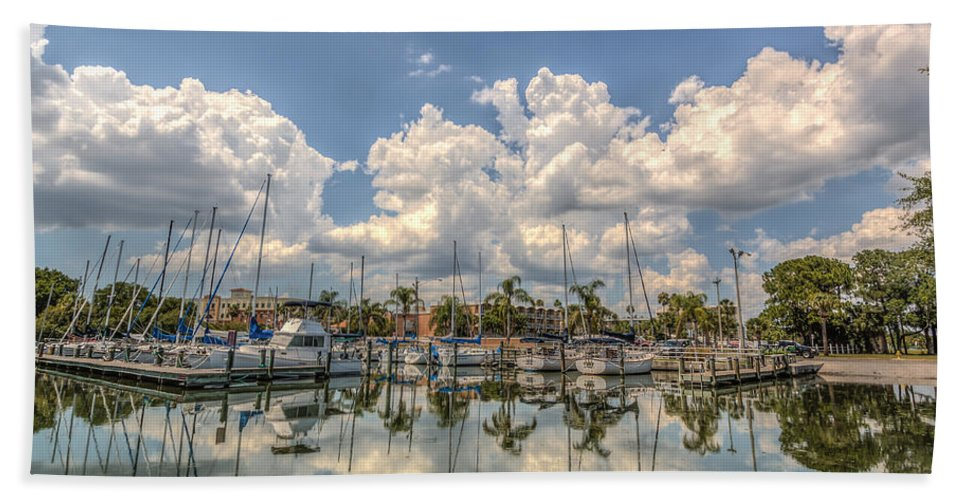 Florida Bath Sheet featuring the photograph Marina Reflections by Jane Luxton