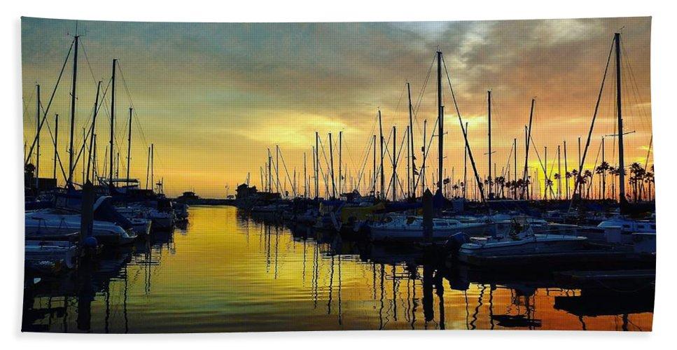 Sunset Hand Towel featuring the photograph Marina Sunset by Greg Kear