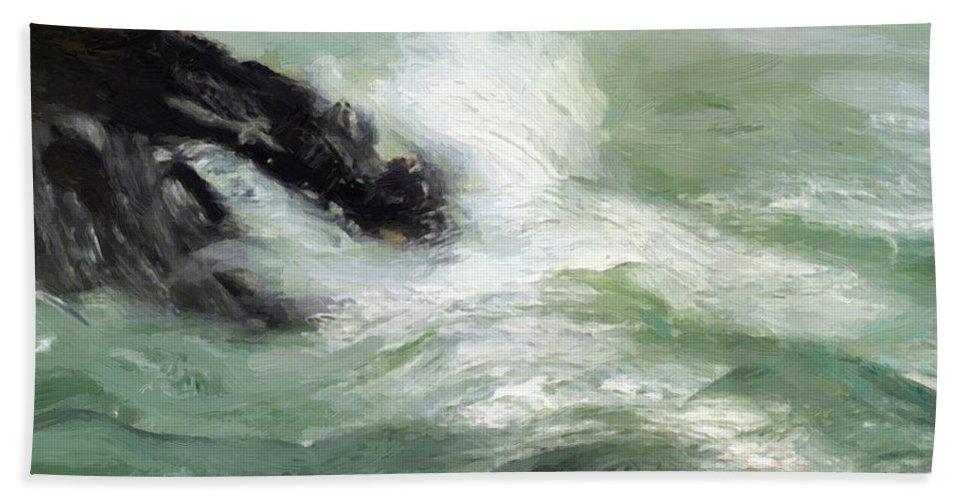 Marine Bath Sheet featuring the painting Marine Storm Sea 1911 by Henri Robert
