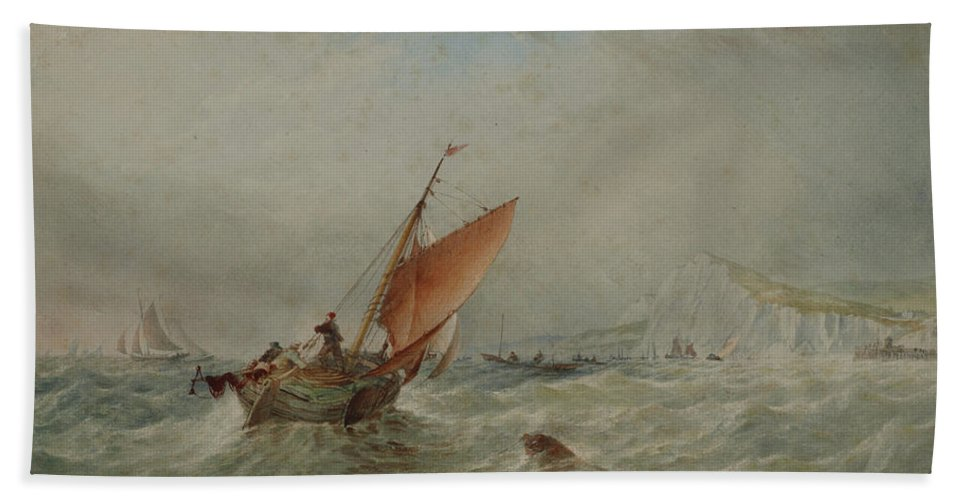 Marine Hand Towel featuring the painting Marine by Thomas Robins