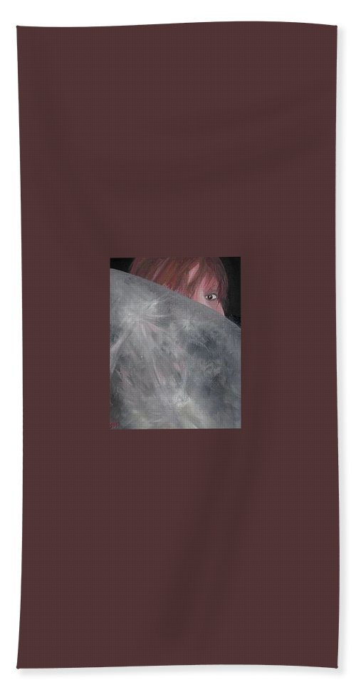 Marion De Falleur Hand Towel featuring the painting Marion Behind The Moon by Dirk Ghys
