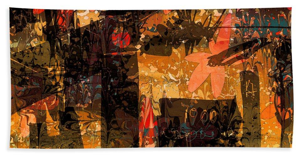 Abstract Bath Sheet featuring the digital art Marion by Rachel Christine Nowicki
