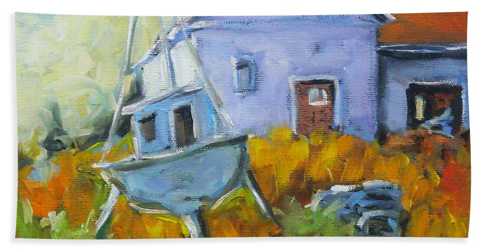 Water Hand Towel featuring the painting Maritime Scene by Richard T Pranke
