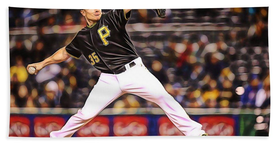 Mark Melancon Hand Towel featuring the mixed media Mark Melancon Baseball by Marvin Blaine