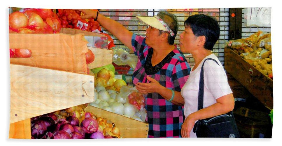 Market At Bensonhurst Brooklyn Ny Bath Sheet featuring the painting Market At Bensonhurst Brooklyn Ny 2 by Jeelan Clark