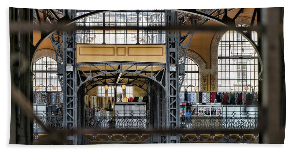 Budapest Bath Sheet featuring the photograph Market Bars And Windows by Sharon Popek