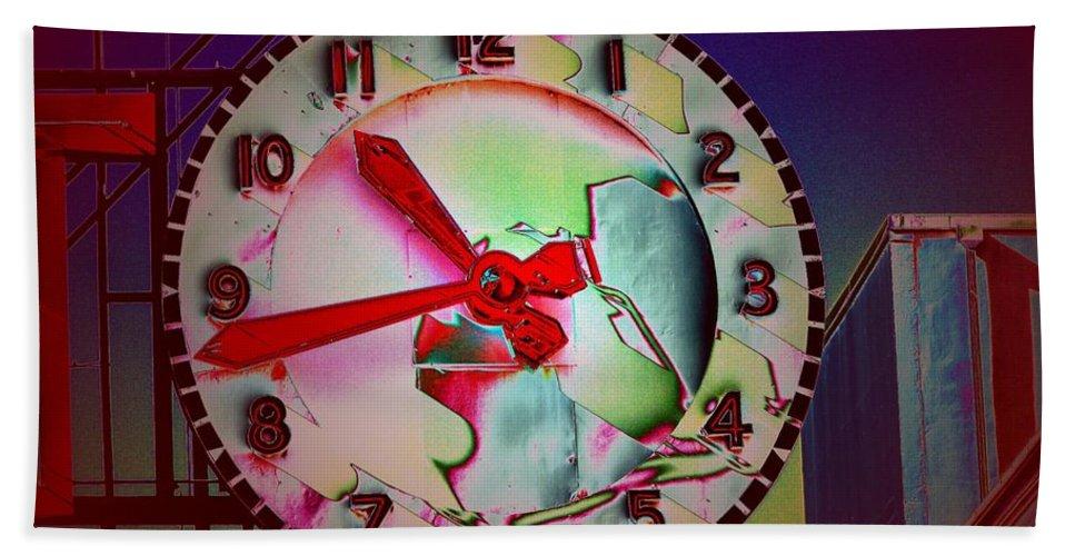 Seattle Bath Sheet featuring the digital art Market Clock 3 by Tim Allen