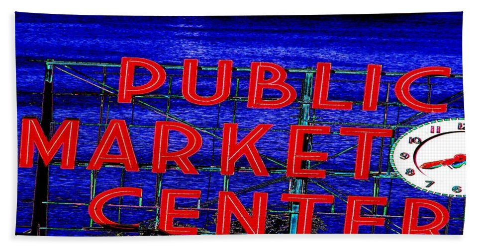 Seattle Bath Towel featuring the photograph Market Clock And Ferry by Tim Allen