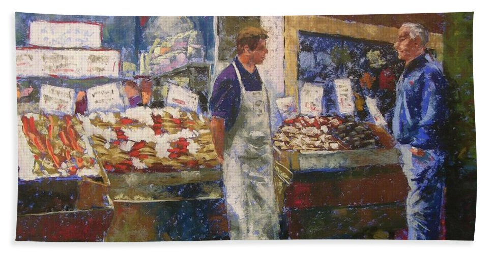 Pike Place Market Bath Sheet featuring the painting Market Conversation by Mary McInnis