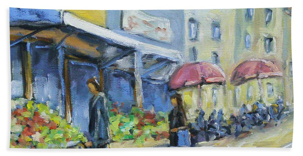 Balcony Bath Sheet featuring the painting Market Day by Richard T Pranke